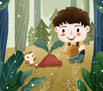 快乐小男孩浇水植树PSD素材