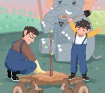 父子与动物快乐植树节PSD素材