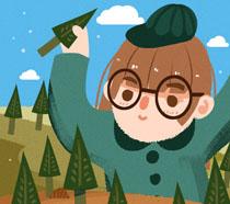 绘画女孩植树节插画PSD素材