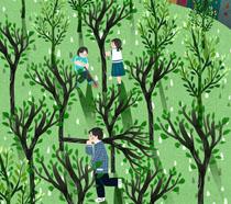 户外儿童植树节插画PSD素材