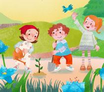 儿童快乐植树节插画PSD素材