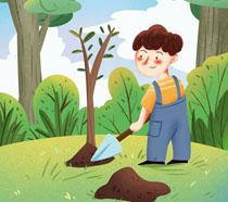 植树的小男孩绘画PSD素材