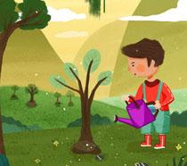 浇水小男孩植树节插画PSD素材