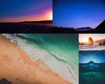 海邊沙灘天空色彩美景攝影高清圖片