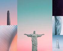 大廈建筑與塑像攝影高清圖片