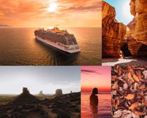 大海輪船高山風景攝影高清圖片