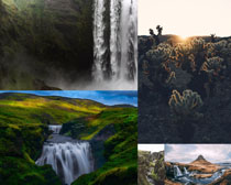 高山綠色瀑布風景攝影高清圖片