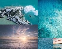 美麗的藍色大海風景攝影高清圖片