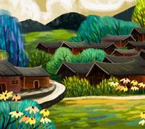 春天民族房屋风景绘画PSD素材