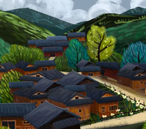 民族风房屋绘画PSD素材