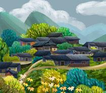 春天风景房屋绘画PSD素材