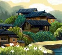 湘西房屋风景绘画PSD素材