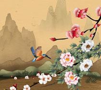 花朵风景小鸟工笔画PSD素材