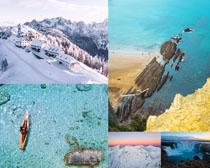 雪景大海美丽风光摄影高清图片