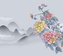 花朵山峰风景绘画PSD素材