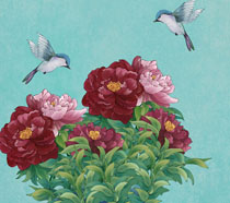 美丽花朵小鸟工笔绘画PSD素材