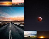 天空月亮道路风景拍摄高清图片