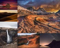 沙漠瀑布高山摄影高清图片