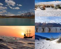 大海蓝天雪景拍摄高清图片
