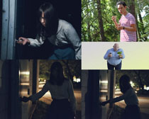 回家的女人与男人摄影高清图片