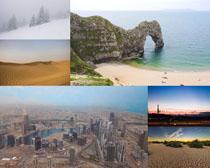 沙漠大海城市风光摄影高清图片