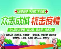 抗击疫情宣传海报PSD素材