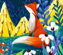 狐狸油画艺术插画PSD素材