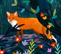 狐狸花朵艺术插画PSD素材