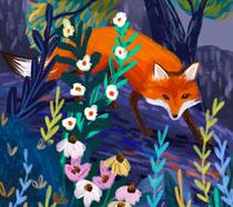 狐狸动物艺术画PSD素材