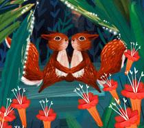 森林里的松鼠插画PSD素材