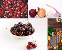 櫻桃大蒜配菜攝影高清圖片