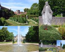 園林植物與塑像攝影高清圖片