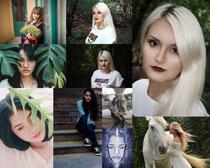 黑發白發美女寫真拍攝高清圖片