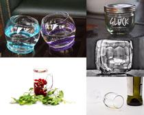 透明的杯子拍攝高清圖片