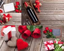 玫瑰紅酒禮物情人節攝影高清圖片