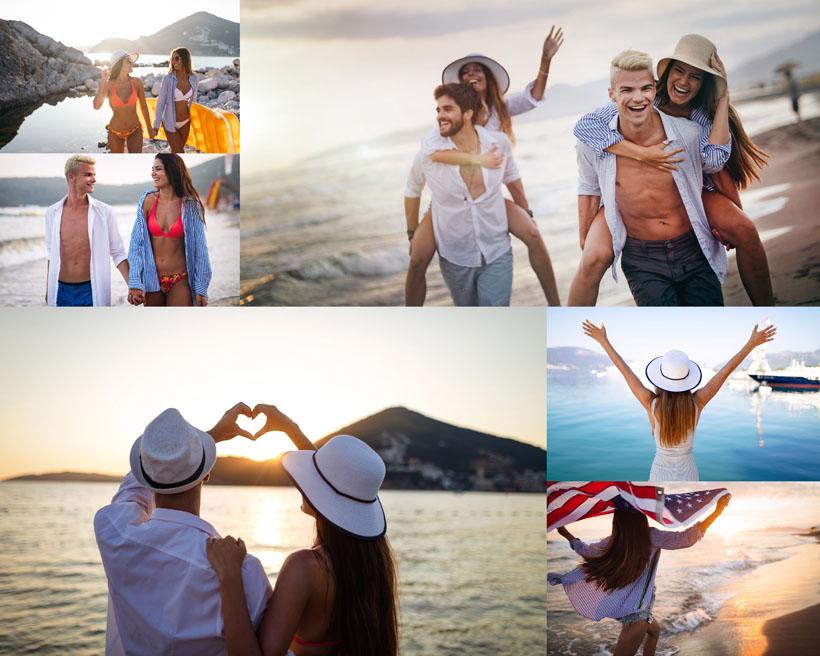 度假的開心情侶攝影高清圖片