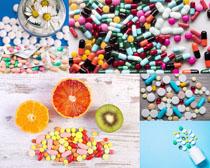 色彩药物与柠檬摄影高清图片