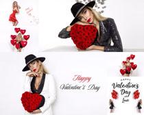 紅色玫瑰與美女寫真攝影高清圖片