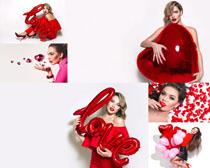 LOVE氣球與美女寫真拍攝高清圖片