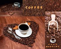 咖啡果与餐具摄影高清图片