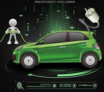新能源电动汽车海报PSD素材