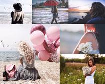 海邊女孩與泡泡攝影高清圖片