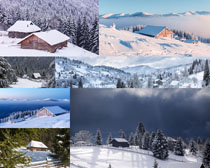 漂亮的雪山与木屋摄影高清图片