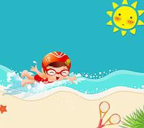 卡通人物海边游泳绘画PSD素材