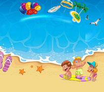 沙滩游玩景色PSD素材