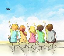 天空下的小學生卡通PSD素材