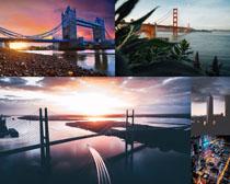 夕陽風景橋梁建筑攝影高清圖片