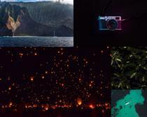 孔明灯山川河流风光摄影高清图片