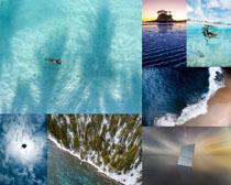 美麗的藍色海洋風景攝影高清圖片