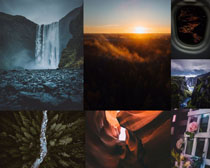 瀑布黑夜景色攝影高清圖片